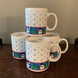 Set of four Snowman Christmas Mugs